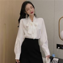 shirt White, blue, black, card Average size Spring 2021 other 96% and above Long sleeves commute Regular V-neck Single row multi button puff sleeve Solid color 18-24 years old Straight cylinder Korean version Frenulum