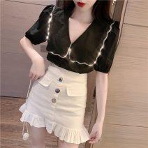 Fashion suit Summer 2021 S. M, average size White top, black top, purple skirt (with underpants), black skirt (with underpants), white skirt (with underpants) 18-25 years old A0326 81% (inclusive) - 90% (inclusive) cotton