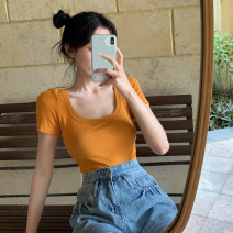 T-shirt Orange, white, black, electric blue, skin pink Average size Summer 2021 Short sleeve Crew neck Straight cylinder Regular routine commute cotton 96% and above 18-24 years old Korean version other Solid color #0329