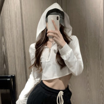 Sweater / sweater Autumn 2020 White, black Average size Long sleeves have cash less than that is registered in the accounts Socket singleton  Hood easy street routine Solid color 18-24 years old zipper zipper Europe and America