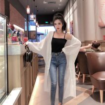 Lace / Chiffon Spring 2020 Average size Long sleeves commute Cardigan singleton  Straight cylinder Medium length other Solid color Bat sleeve 18-24 years old Other / other three point two nine Button Korean version 81% (inclusive) - 90% (inclusive)