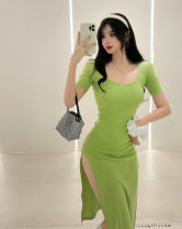 Dress Summer 2021 Light green, black S,M,L Mid length dress singleton  Short sleeve Sweet V-neck middle-waisted Solid color Socket One pace skirt routine Others 18-24 years old Type X backless D0407