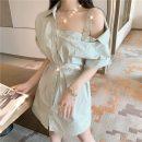 Dress Spring 2021 Light blue, white Average size Short skirt singleton  Short sleeve commute High waist Single breasted raglan sleeve 18-24 years old Type H Korean version b0315 31% (inclusive) - 50% (inclusive)