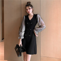Dress Autumn 2020 black S,M,L Middle-skirt singleton  Long sleeves commute tailored collar High waist Solid color double-breasted A-line skirt pagoda sleeve Others 18-24 years old Type A Other / other Korean version Mesh, stitching