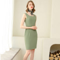 Dress Summer 2020 One piece beancurd green dress S,M,L,XL,XXL Mid length dress singleton  Sleeveless commute Crew neck middle-waisted Solid color zipper One pace skirt routine Others 25-29 years old Type X AI Shangchen Ol style zipper Q0350 More than 95% polyester fiber