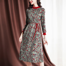 Dress Spring 2021 Decor M L XL 2XL 3XL Mid length dress singleton  Long sleeves commute other middle-waisted Broken flowers A-line skirt pagoda sleeve Others 35-39 years old Sgediya / Santa Cordia Korean version Pleated lace up print 1001-82093931 51% (inclusive) - 70% (inclusive) polyester fiber