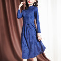 Middle aged and old women's wear Spring 2021 blue M [recommended 95-105 kg] l [recommended 105-115 kg] XL [recommended 115-125 kg] 2XL [recommended 125-135 kg] 3XL [recommended 135-150 kg] commute Dress Self cultivation singleton  Broken flowers 40-49 years old Socket Crew neck Medium length routine