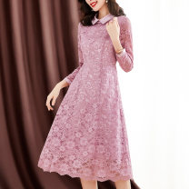 Dress Spring 2021 Pink M L XL 2XL 3XL longuette singleton  Long sleeves commute Doll Collar middle-waisted Solid color Socket A-line skirt routine Others 35-39 years old Type A Sgediya / Santa Cordia Lace 31% (inclusive) - 50% (inclusive) Lace nylon Pure e-commerce (online only)