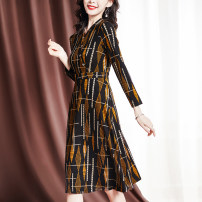 Dress Spring 2021 Decor M L XL 2XL 3XL Mid length dress singleton  Nine point sleeve commute V-neck middle-waisted stripe Socket A-line skirt routine Others 35-39 years old Sgediya / Santa Cordia Korean version Patchwork button print 1001-82093837 31% (inclusive) - 50% (inclusive) polyester fiber