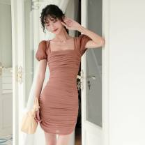 Dress Summer 2020 sorrel S,M,L Short skirt singleton  Short sleeve commute square neck High waist Solid color Socket One pace skirt Wrap sleeves Others 25-29 years old Type X 8027#