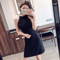 Dress Summer 2020 black L,S,M,XL Short skirt singleton  Sleeveless commute other High waist Solid color Socket A-line skirt other Hanging neck style 18-24 years old Type A Other / other Korean version backless cotton
