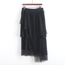 skirt Autumn 2020 S,M,L black Short skirt commute Natural waist A-line skirt lattice Type A Button