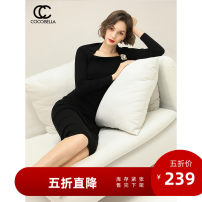 Dress Autumn of 2019 black XL S M L Mid length dress singleton  Long sleeves commute High waist Solid color Socket 30-34 years old Type X COCO BELLA Ol style Hollowing out DS1180 51% (inclusive) - 70% (inclusive) nylon Same model in shopping mall (sold online and offline)