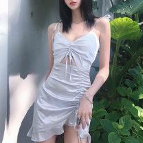 Dress Summer 2020 Light purple, black S,M,L Short skirt singleton  Sleeveless V-neck middle-waisted Solid color Socket Ruffle Skirt camisole Ruffles, ruffles, asymmetry, bandages 51% (inclusive) - 70% (inclusive) polyester fiber
