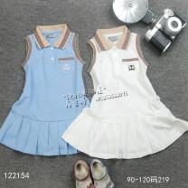 Dress Light blue, white female Other / other 90cm,100cm,110cm,120cm Cotton 100% summer Skirt / vest cotton A-line skirt 12 months, 6 months, 9 months, 18 months, 2 years old, 3 years old, 4 years old, 5 years old