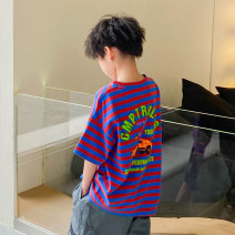T-shirt Red blue stripe, black and white stripe, red blue stripe 1, black and white stripe 1 Zhen Youfan male summer Short sleeve Crew neck leisure time There are models in the real shooting nothing cotton other Cotton 100% Class B other Four, five, six, seven, eight, nine, ten, eleven, twelve