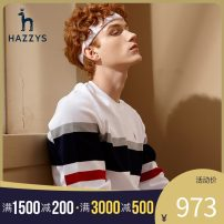 T-shirt Fashion City White Navy routine 165/88A 170/92A 175/96A 185/104A 190/108A 190/112A 180/100A Hazzys Long sleeves Crew neck standard Other leisure spring ABTZE01AX13 Cotton 100% youth routine tide Knitted fabric Spring 2021 stripe Rib decoration cotton Geometric pattern other More than 95%