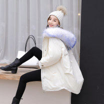 Down Jackets Autumn of 2019 S,M,L White duck down 90% Medium length Long sleeves thickening zipper Hood commute routine Straight cylinder letter 100g (including) - 150g (excluding) Korean version With fur collar, pocket, zipper 96% and above