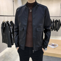 leather clothing JXAETE Youth fashion M L XL XXL XXXL 4XL routine Imitation leather clothes Baseball collar easy zipper autumn leisure time youth PU tide Rib hem Digging bags with lids Button decoration No iron treatment Autumn 2020 Pure e-commerce (online only)