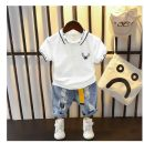 suit Other / other Foreign style, handsome style 90cm,100cm,110cm,120cm,130cm male summer leisure time Short sleeve + pants 2 pieces routine No model Single breasted nothing Solid color cotton children Expression of love S2DE Class B Other 100% Chinese Mainland