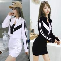 Dress Winter 2016 Black, white, red L,M,S,XL Middle-skirt Two piece set Long sleeves commute low-waisted Socket One pace skirt camisole 18-24 years old Korean version Splicing
