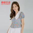 Lace / Chiffon Summer 2021 blue S,M,L Short sleeve commute Cardigan Fake two pieces Self cultivation Regular Decor puff sleeve 18-24 years old Hstyle / handu clothing house RE5189 Stitching, broken flowers Korean version 96% and above polyester fiber