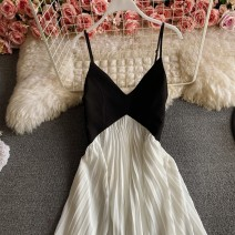 Dress Winter 2016 white M,L,XL,S longuette singleton  Sleeveless commute V-neck High waist Solid color zipper A-line skirt routine camisole 18-24 years old Type A Korean version Backless, pleated, stitched, zipper 30% and below other other