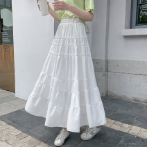 skirt Summer 2020 Average size White, black High waist Cake skirt Solid color Type A 18-24 years old 9809 real shot Other / other