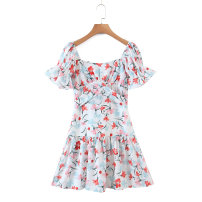 Dress Spring 2021 As shown in the figure S,M,L Short skirt singleton  Short sleeve street square neck 18-24 years old Europe and America