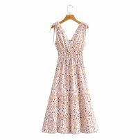 Dress Spring 2021 As shown in the figure S,M,L Mid length dress singleton  street V-neck 18-24 years old Europe and America