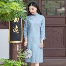 cheongsam Spring 2020 XXL,S,M,L,XL Light blue, coffee three quarter sleeve Single cheongsam Retro Low slit daily Oblique lapel stripe Piping Yu Xiang cotton 96% and above