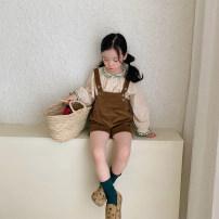 shirt Milk tea apricot UTOUTO female 80cm, 90cm, 100cm, 120cm, 130cm, 140cm, 110cm (model try on) spring and autumn Long sleeves leisure time other cotton