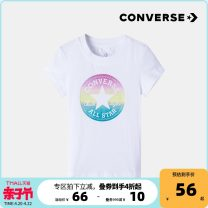 T-shirt Pure white lotus powder Converse / converse 90cm/2T 100cm/3T 110cm/4T female spring and autumn Short sleeve Crew neck leisure time nothing cotton other Cotton 100% CV2012117TD-001-1 Summer 2021 18 months, 2 years, 3 years, 4 years