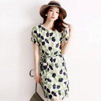 Dress Summer 2021 green S,M,L,XL Mid length dress singleton  Short sleeve commute Crew neck High waist other Socket A-line skirt routine Type A JQSD Korean version 71% (inclusive) - 80% (inclusive) Chiffon