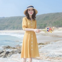 Dress Summer 2021 Pale yellow XS,S,M,L,XL Short skirt singleton  Short sleeve commute V-neck High waist Solid color Socket One pace skirt routine Others Type A JQSD Korean version 81% (inclusive) - 90% (inclusive) other cotton