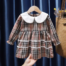Dress female Tagkita / she and others 80, 90, 100, 110, 120, 130 Cotton 95% other 5% spring and autumn fresh Long sleeves lattice cotton Pleats 12 months, 9 months, 18 months, 2 years old, 3 years old, 4 years old, 5 years old, 6 years old
