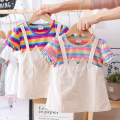 Dress female Other / other 80, 90, 100, 110, 120, 130 Cotton 90% other 10% summer fresh Short sleeve stripe cotton Splicing style other 12 months, 6 months, 9 months, 18 months, 2 years, 3 years, 4 years