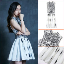 Dress Summer 2021 white S,M,L,XL Middle-skirt singleton  Sleeveless stand collar High waist other zipper A-line skirt Breast wrapping 18-24 years old Type A 91% (inclusive) - 95% (inclusive) other