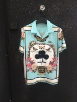 shirt Fashion City Angel Medal S ml XL please leave a message height and weight Lake blue routine Short sleeve other standard Other leisure summer Dlll youth Simplicity in Europe and America 2018 Geometric pattern printing