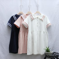 Dress Summer 2020 White, pink, navy S,M,L Mid length dress singleton  Short sleeve Sweet Admiral Loose waist Solid color Three buttons Type H Fold, splice 81% (inclusive) - 90% (inclusive) cotton college