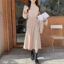 Dress Spring 2021 Lotus root, mint green S,M,L,XL Mid length dress singleton  Long sleeves commute stand collar middle-waisted Solid color Socket Pleated skirt bishop sleeve Others Type H Korean version Ruffles, ruffles Chiffon