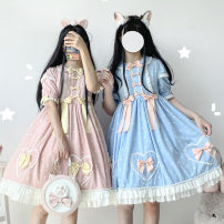 Dress Summer 2020 Girl pink, Sam (light blue) S,M,L Mid length dress Short sleeve Sweet 18-24 years old Lolita