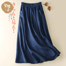 skirt Summer 2021 S M L XL Navy Blue Mid length dress commute Natural waist A-line skirt Solid color Type A 25-29 years old B9195 More than 95% other zigezi hemp Simplicity Flax 100% Pure e-commerce (online only)