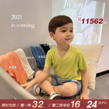 T-shirt Chen Chen's mother 80, 90, 100, 110, 120, 130, 140 male spring Short sleeve V-neck leisure time There are models in the real shooting nothing cotton Cartoon animation Other 100% 12 months, 9 months, 18 months, 2 years old, 3 years old, 4 years old, 5 years old, 6 years old