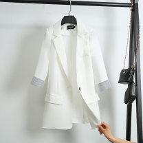 suit Summer 2020 Black, white S,M,L,XL three quarter sleeve Medium length Self cultivation tailored collar A button commute routine Solid color 25-29 years old 71% (inclusive) - 80% (inclusive) polyester fiber Pockets, stitching