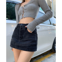 skirt Summer 2021 S,M,L Blue, black Short skirt commute High waist Denim skirt Solid color Type A 18-24 years old Other / other Korean version