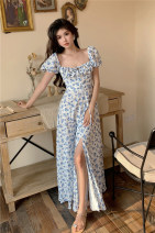 Dress Summer 2021 Blue flower S, M longuette singleton  Short sleeve commute square neck High waist Broken flowers other A-line skirt puff sleeve Others 18-24 years old Type A Other / other Korean version Hollow out, open back, lace up, bandage, zipper, printing 81% (inclusive) - 90% (inclusive)