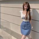 skirt Summer 2021 One size fits all, s, m, l, XL T-shirt, skirt Short skirt commute High waist Denim skirt other Type A 18-24 years old Other / other Korean version