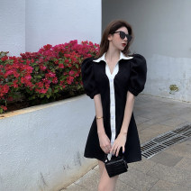 Dress Summer 2021 black S, M Short skirt singleton  Short sleeve commute V-neck High waist Solid color Single breasted A-line skirt puff sleeve Others 18-24 years old Type A Other / other Korean version other