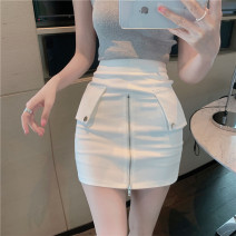 skirt Summer 2021 S, M White, black Short skirt commute High waist A-line skirt Solid color Type A 18-24 years old Other / other Korean version